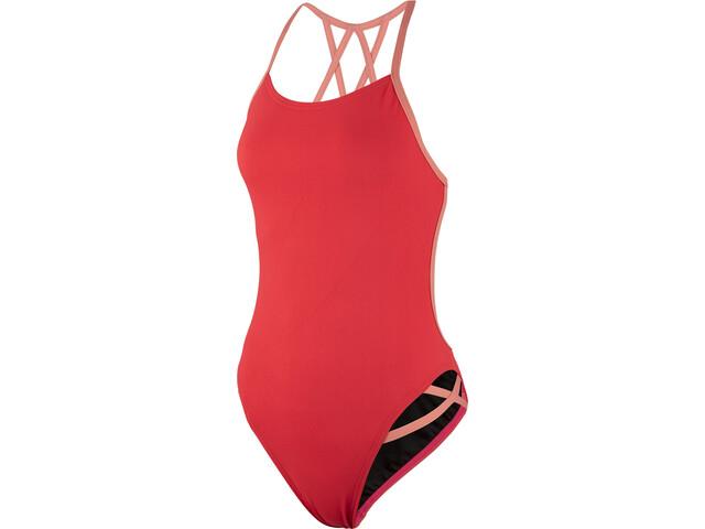 speedo Neon Freestyler Swimsuit Damen red/orange